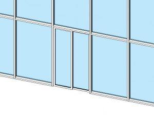 قرار دادن درب درون دیواره شیشه ای در رویت