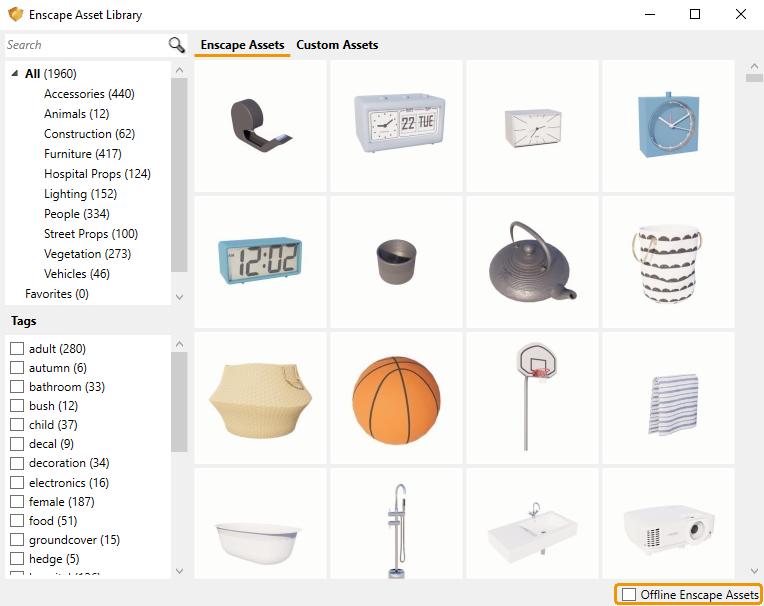 دانلود asset library آفلاین برای اینسکیپ